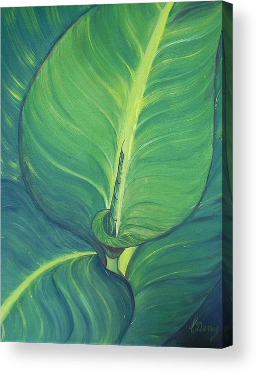 Leaves Acrylic Print featuring the painting Green by Murielle Hebert