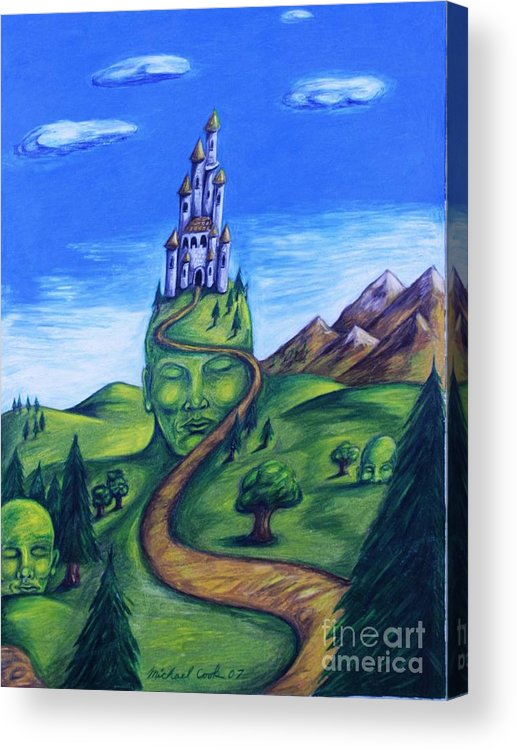 Green Surreal Landscape Castle Acrylic Print featuring the drawing Summer Home by Michael Cook
