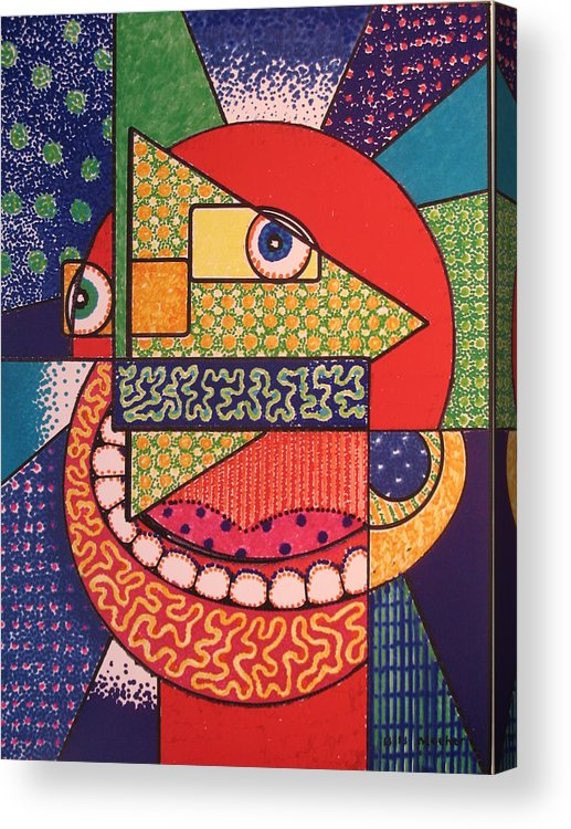 Cubism Acrylic Print featuring the painting Grinning Redneck by Bill Meeker