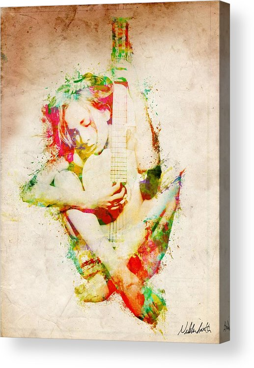 Guitar Acrylic Print featuring the digital art Guitar Lovers Embrace by Nikki Smith