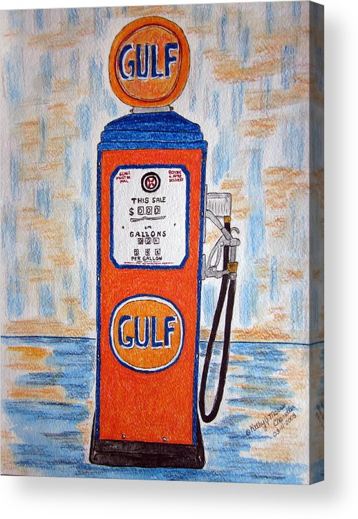 Vintage Acrylic Print featuring the painting Gulf Gas Pump by Kathy Marrs Chandler