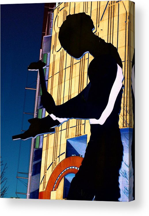 Seattle Acrylic Print featuring the digital art Hammering Man by Tim Allen