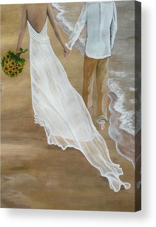Bride And Groom Acrylic Print featuring the painting Hand In Hand by Kris Crollard