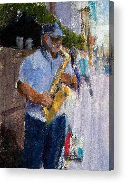 Musicians Acrylic Print featuring the painting He Was Playing Real Good For Free by Merle Keller