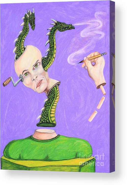 Dragons Surreal Fantasy Acrylic Print featuring the drawing Head Crank by Michael Cook