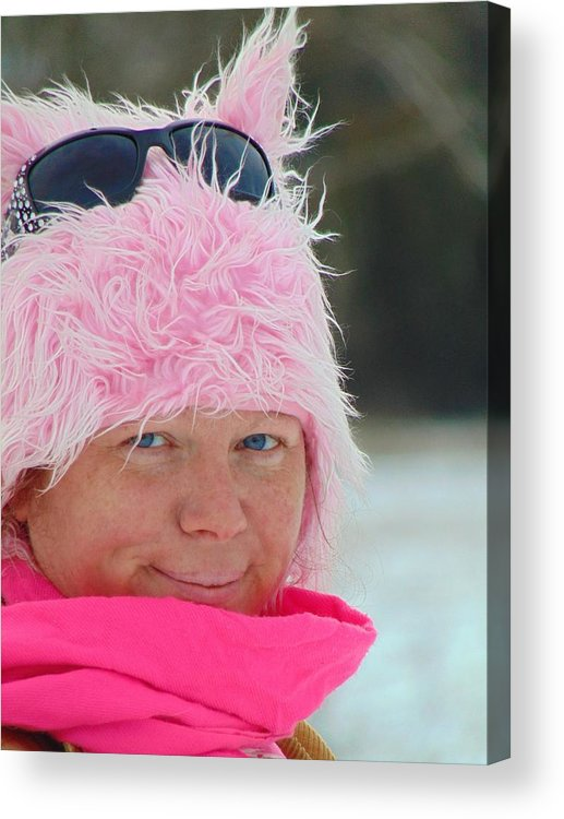 Pink Acrylic Print featuring the photograph Hello Snow Kitty by Honey Behrens