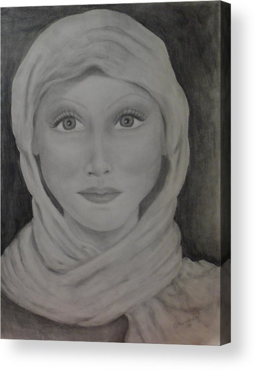 Portrait Acrylic Print featuring the drawing Her by Jennifer Hernandez
