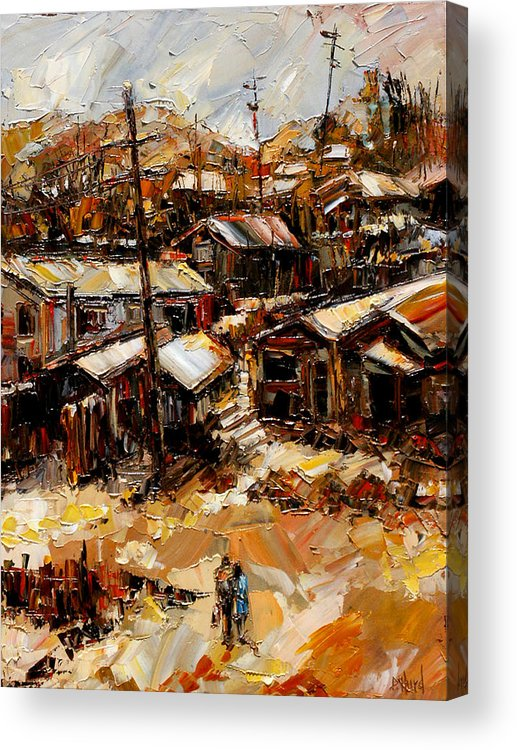 Chaves Revine Acrylic Print featuring the painting Homes In The Hills Chaves Revine by Debra Hurd
