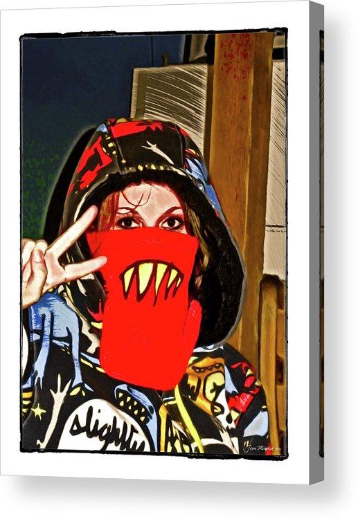 Eyes Acrylic Print featuring the digital art Hooded Girl by Joan Minchak