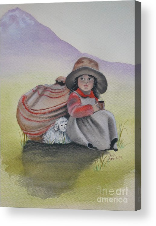 Children Acrylic Print featuring the painting Hope by Kris Crollard