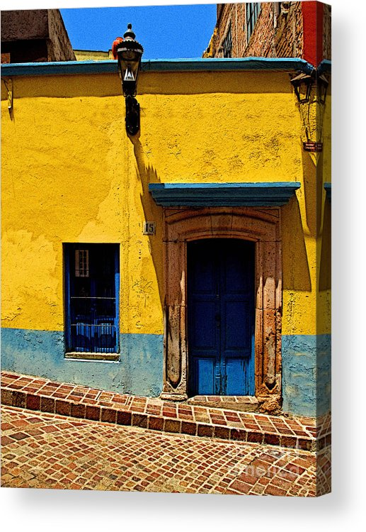 Darian Day Acrylic Print featuring the photograph House In Yellow And Blue by Mexicolors Art Photography