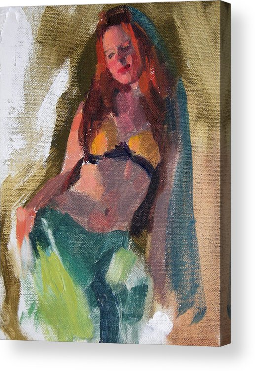 Figurative Acrylic Print featuring the painting I Dream Of Genie by Merle Keller
