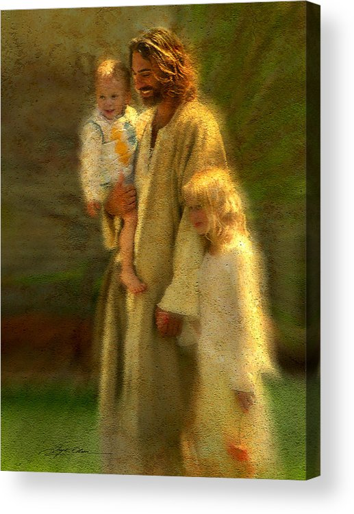 Jesus Acrylic Print featuring the painting In The Arms Of His Love by Greg Olsen