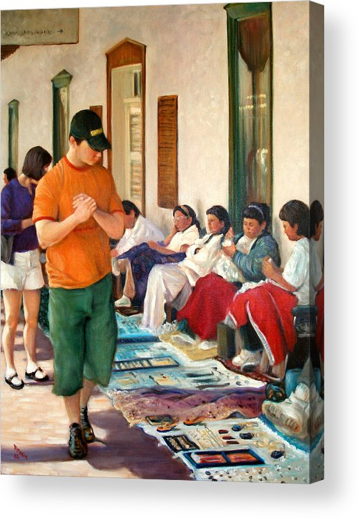Realism Acrylic Print featuring the painting Indian Market by Donelli DiMaria