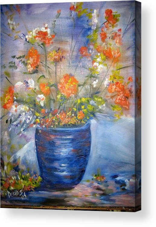 Still Life Acrylic Print featuring the painting Indigo by Impressionist FineArtist Tucker Demps Collection