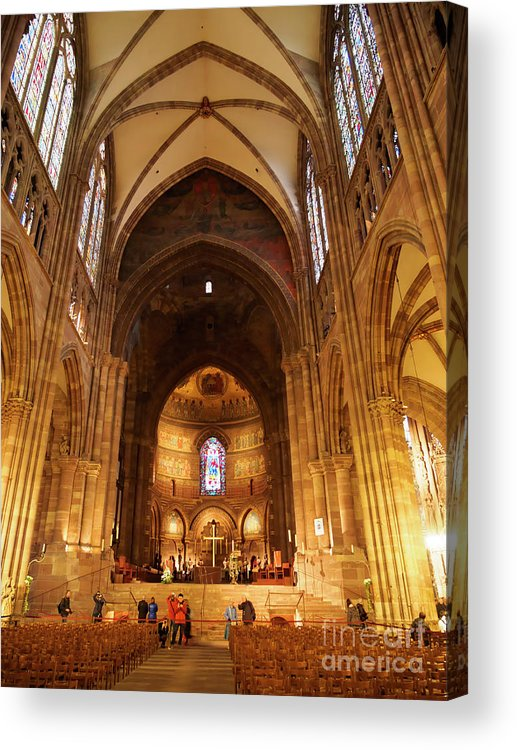 Interior Acrylic Print featuring the photograph Interior Of Strasbourg Cathedral by Louise Heusinkveld