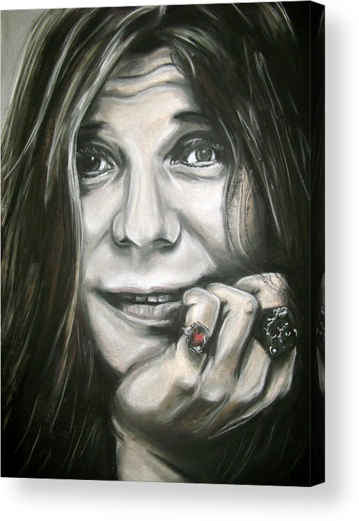 Janis Acrylic Print featuring the drawing Janis Joplin by Zach Zwagil