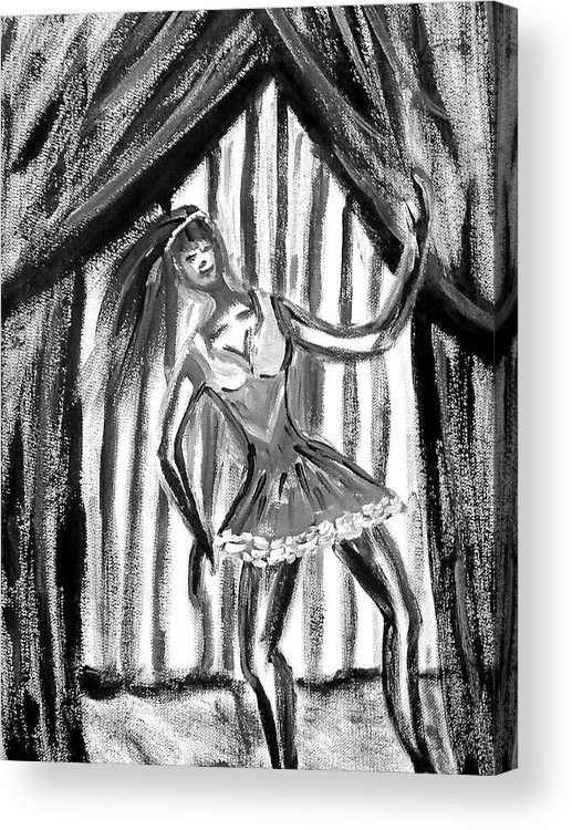 Dance Acrylic Print featuring the painting Jazz Dancer In Black And White by BJ Abrams