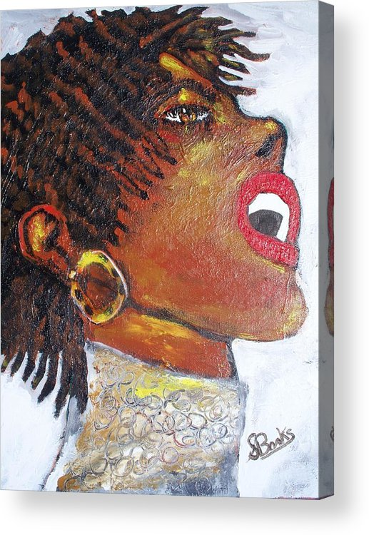 Jazz Singer Acrylic Print featuring the painting Jazz Singer Jade by Samuel Banks