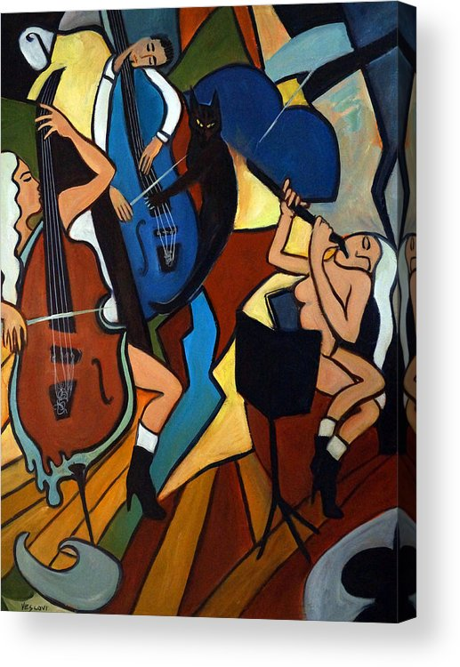 Musicians Acrylic Print featuring the painting Jazz Trio by Valerie Vescovi