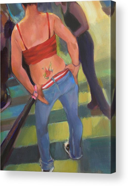 Tatoo Acrylic Print featuring the painting Jen by Merle Keller