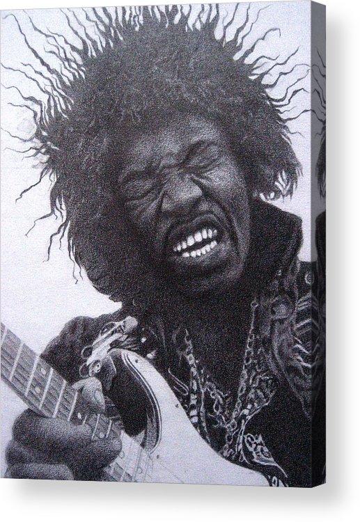 Jimi Hendrix Acrylic Print featuring the drawing Jimi Hendrix Drawing by Lana Cheng