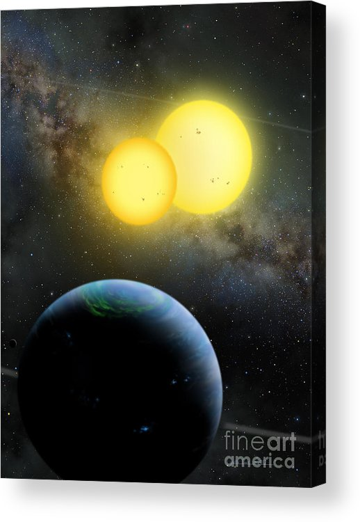 Lynette Cook Acrylic Print featuring the painting Kepler-35 by Lynette Cook