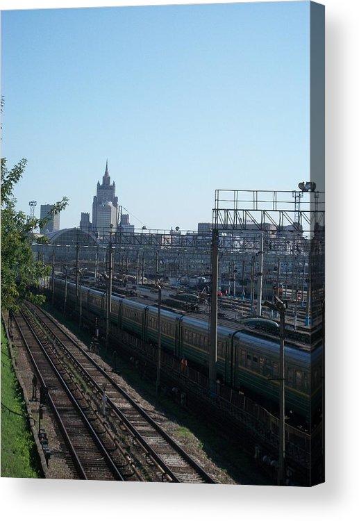 Kievskaya Train Station Acrylic Print featuring the photograph Moscow Kievskaya Train Yard by James Hanemaayer
