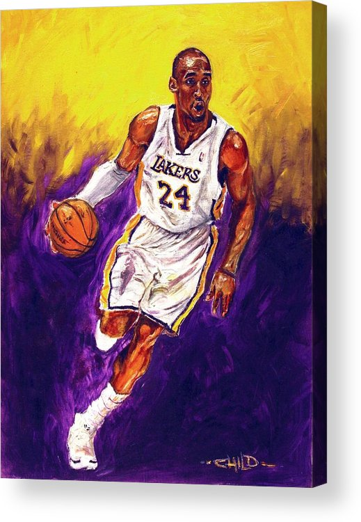 Kobe Bryant Acrylic Print featuring the painting Kobe by Brian Child