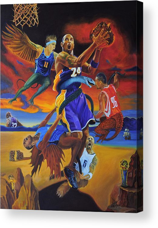 Kobe Bryant Acrylic Print featuring the painting Kobe Defeating The Demons by Luis Antonio Vargas