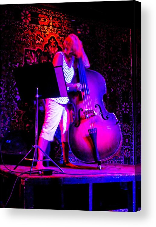 Music Nightclub Bass Fiddle Lady Female Pink White Purple Black Background Playing Abstract Bright Platform Acrylic Print featuring the photograph Lady And Her Bass by Barbara Kelley