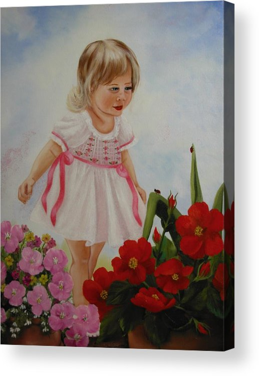 Child Acrylic Print featuring the painting Lady Bug Lady Bug by Joni McPherson