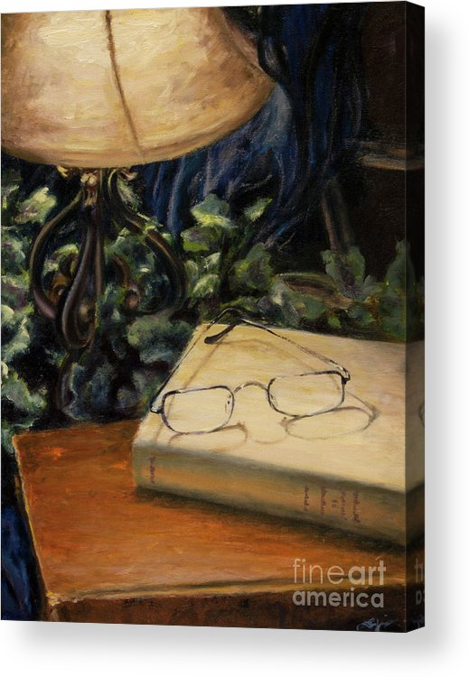 Reading Acrylic Print featuring the painting Lamp Light by Lori McCray