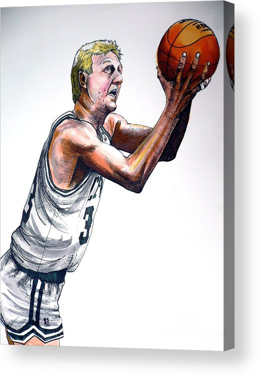 Larry Bird Acrylic Print featuring the painting Larry Bird by Dave Olsen