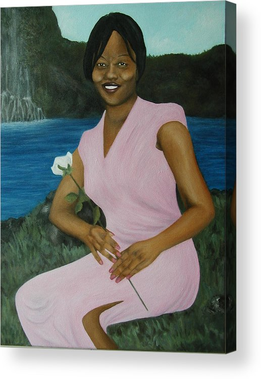 Portrait Acrylic Print featuring the painting Latasha by Angelo Thomas