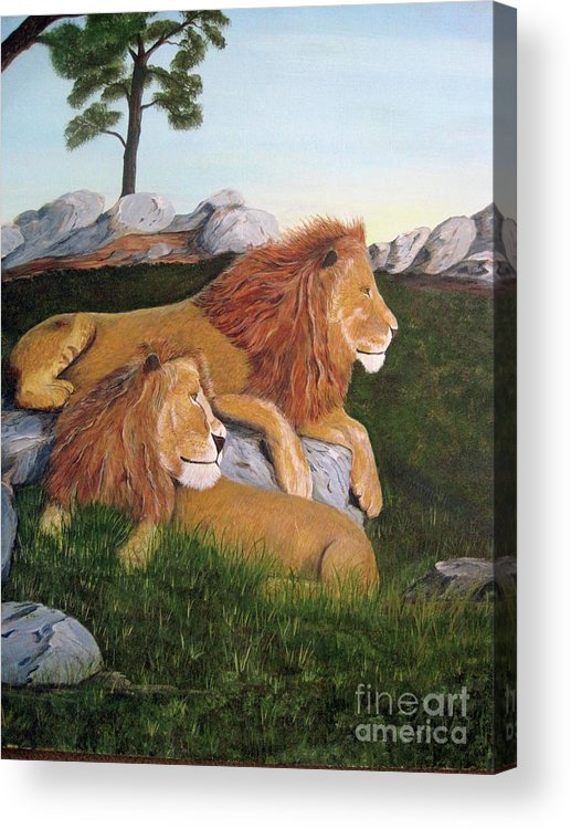 Loins Acrylic Print featuring the painting Leaders Of The Pride by John Nickerson