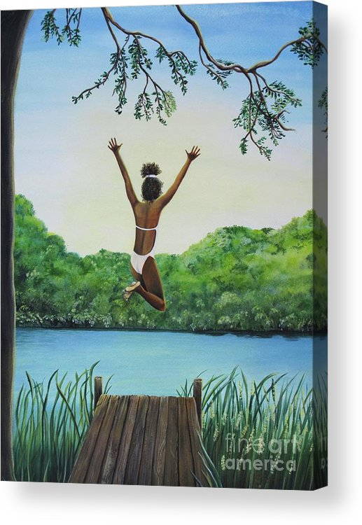 Summer Vacation Acrylic Print featuring the painting Leap Of Faith by Kris Crollard