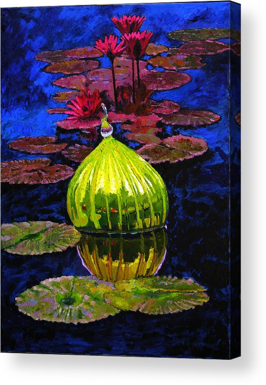 Blown Glass Acrylic Print featuring the painting Lilies And Glass Reflections by John Lautermilch
