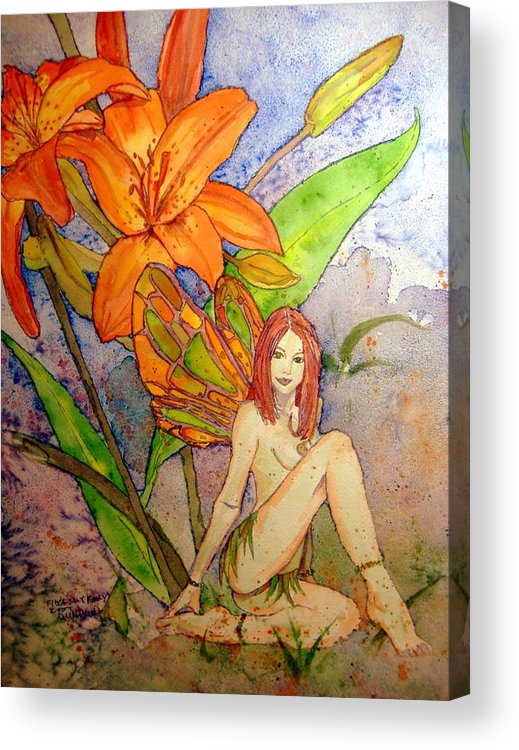 Faerie Acrylic Print featuring the painting Lillian Keeper Of Both Wealth And Pride - Watercolor by Donna Hanna