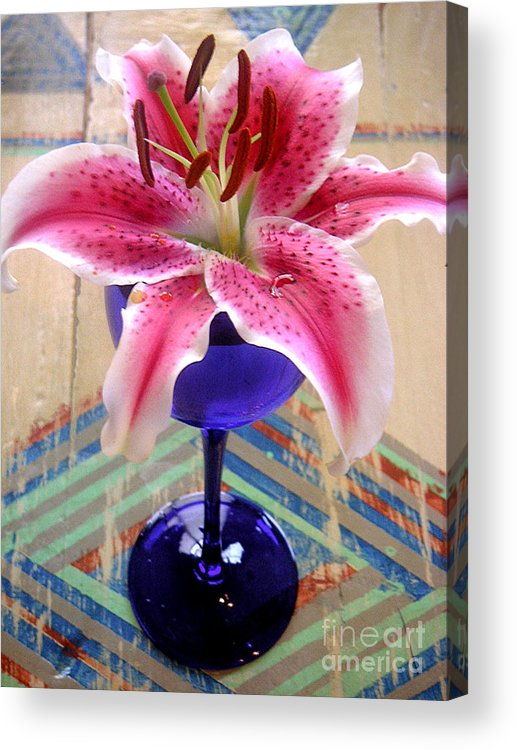 Nature Acrylic Print featuring the photograph Lily On A Painted Table by Lucyna A M Green