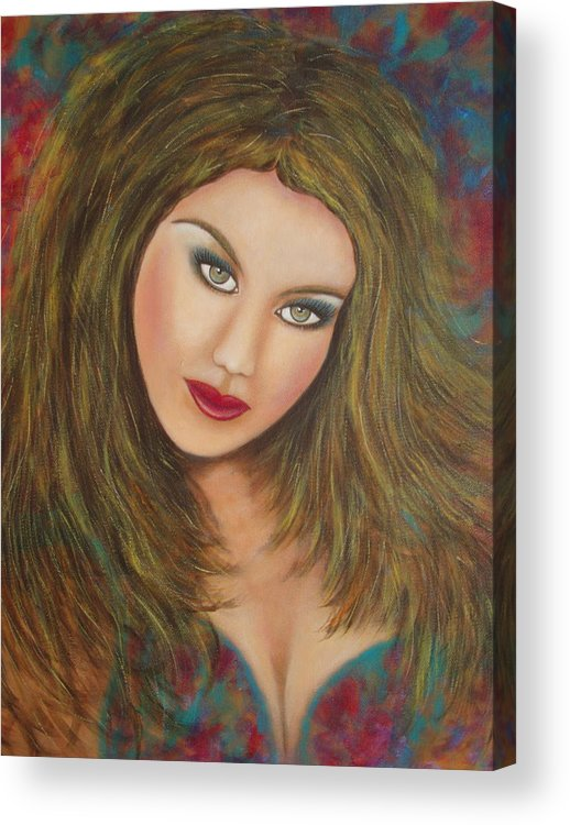 Portrait Acrylic Print featuring the painting Lioness by Natalie Holland