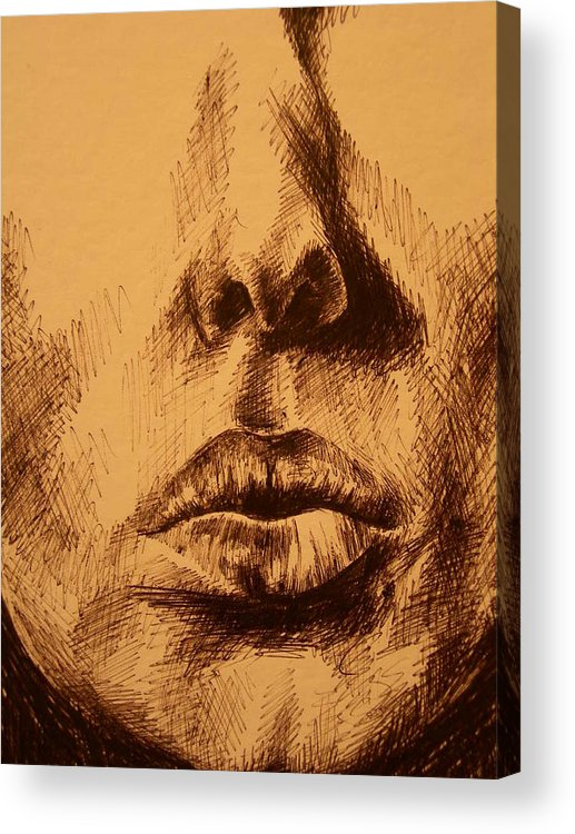 Portrait Acrylic Print featuring the drawing Lips Are Beautiful by J Oriel