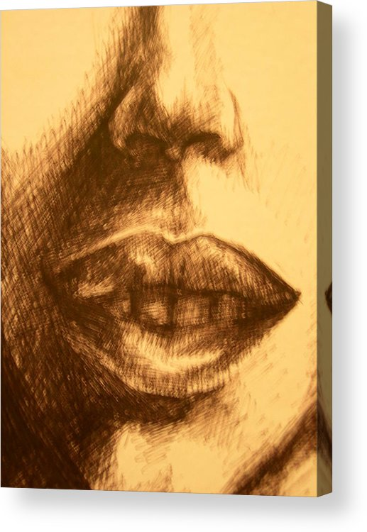 Lips Acrylic Print featuring the drawing Lips by J Oriel
