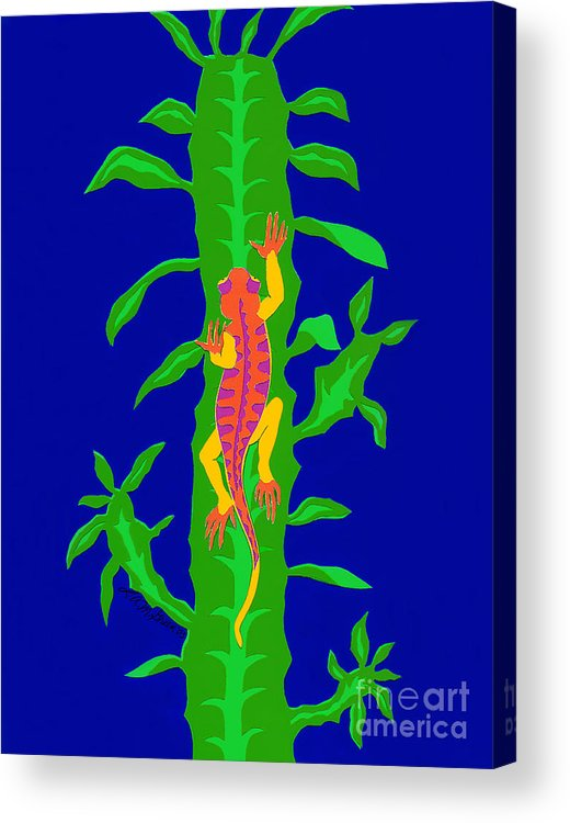Nature Acrylic Print featuring the drawing Lizard And Cactus by Lucyna A M Green