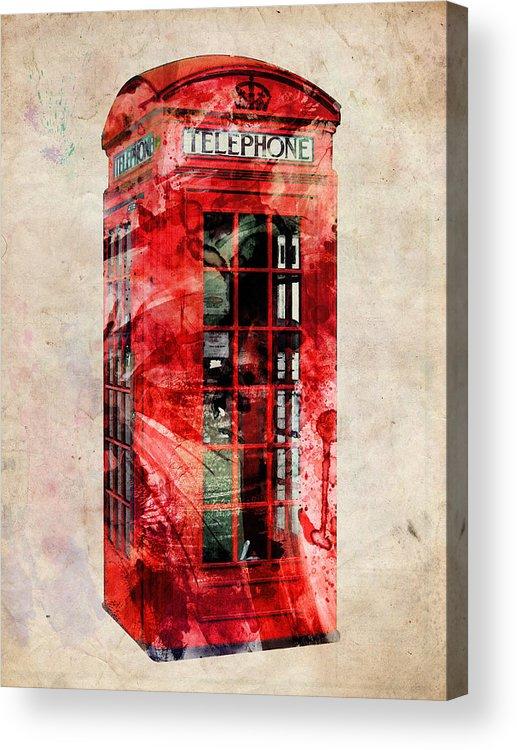 London Acrylic Print featuring the digital art London Phone Box Urban Art by Michael Tompsett