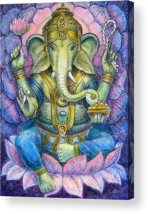 Lord Ganesha Acrylic Print featuring the painting Lotus Ganesha by Sue Halstenberg