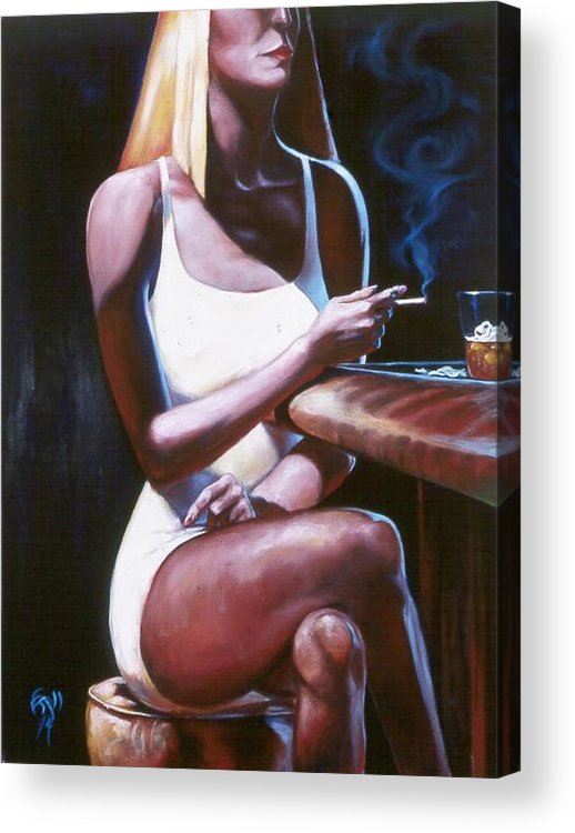Figure Acrylic Print featuring the painting Lounge Lizard's Eye View by T Ezell