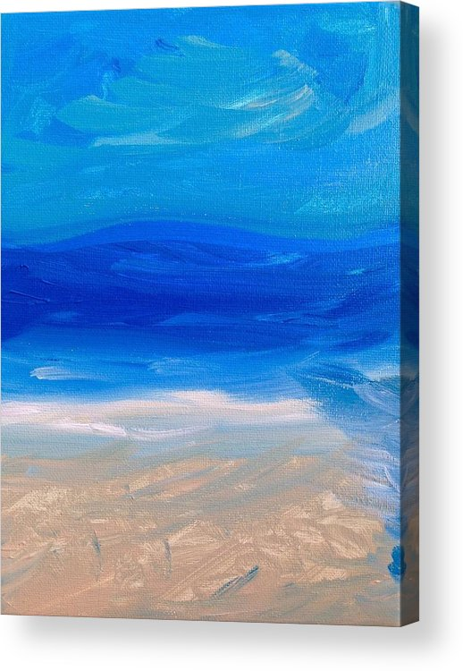 Abstract Painting Of The Ocean Acrylic Print featuring the painting Love Peace by Lisa S Patti