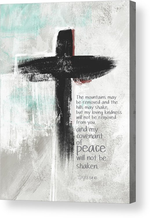 Cross Acrylic Print featuring the mixed media Loving Kindness Cross- Art By Linda Woods by Linda Woods