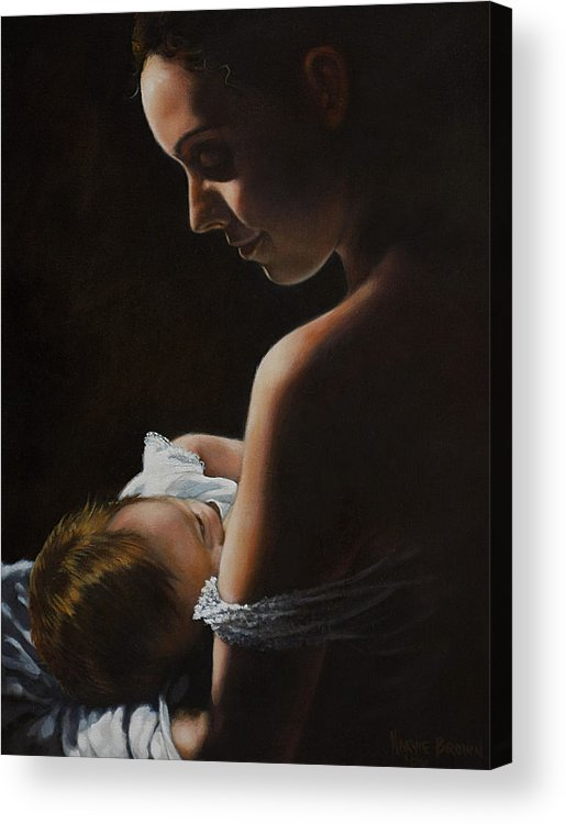 Young Woman Acrylic Print featuring the painting Madonna And Child by Harvie Brown
